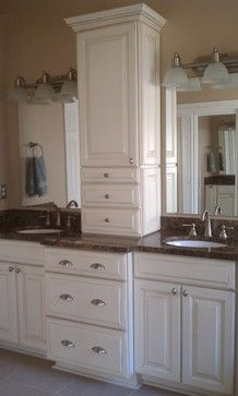 Double Vanity with Center Tower | 9,438 double vanity towers Traditional Home Design Photos