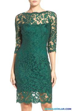 En Dikkat Çeken 2017 Gece Elbiseleri Ve Abiye Modelleri - Dantel işlemeli yeşil abiye elbise
