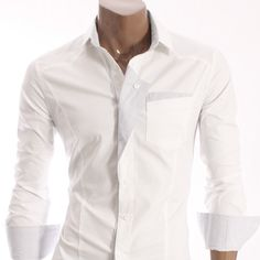 White Dress Shirt with Folded Patch  www.jhlstyle.com