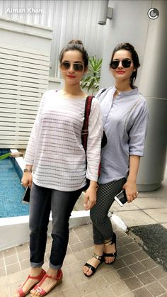 Aiman nd minal Classy Outfits, Casual Outfits, Indian Bridal Photos, Love Fashion, Womens Fashion, Pakistani Actress, Girls Dpz, Western Outfits, Indian Designer Wear