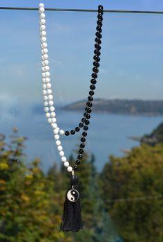 Yin Yang Gemstone Mala Necklace with Tassel, Men's or Women's Mala - 108 Bead, Mountain Jade and Onyx by CreatingClarity on Etsy