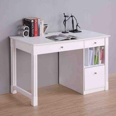 Walker Edison Deluxe Wood Desk - White - Desks at Hayneedle