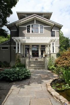 a house in a garden - craftsman - exterior - dc metro - Brennan + Company Architects Bungalow Exterior, Craftsman Exterior, Craftsman Style, Exterior Paint, Exterior Design, Craftsman Homes, Exterior Colors, Bungalow Renovation, Exterior Trim