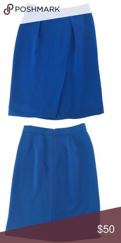 J.Crew Blue Drape Crepe Pencil Skirt 100% Polyester lining • 100% Polyester Shell • Machine Wash Warm with like colors• worn once• Zipper backclosure• on the site it says it is sold out, and that it runs a bit large. So this size could fit a 00, 0 and possible a size 2 depending on hip size. Let me know if you need more measurements and offers are welcome! J. Crew Skirts Pencil