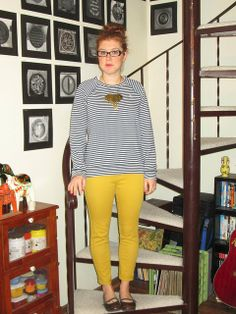 brass elephant necklace, navy and white striped sweatshirt, mustard jeans, brown flats Mustard Jeans, Yellow Pants, Elephant Necklace, Brown Flats, Colored Pants, Vintage Jeans, First Photo, Navy And White, Ballet Flats