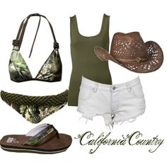Love the outfit, not the bikini. Cute Country Outfits, Country Girl Style, Cute Outfits, Southern Style, Country Life, Beautiful Outfits, Country Fashion, Southern Outfits, Country Quotes