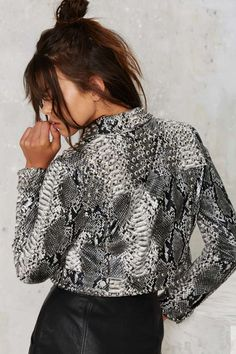 Nasty Gal Python Icon Studded Jacket - Nasty Gal Collection | Sale: Newly Added | Moto + Leather | Jackets + Coats | Jackets + Coats