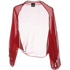 Pf Paola Frani Shrug ($62) ❤ liked on Polyvore featuring outerwear, brick red, white long sleeve shrug, white shrug cardigan, chiffon shrug, white shrug and shrug cardigan