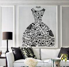 Vinyl Wall Decal Wedding Dress Bridal Shop Marriage Fashion Stickers (363ig)