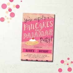 Pancakes and Pajamas Birthday party invitations. Custom design.
