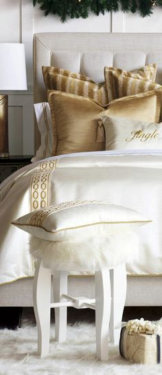 Wrap yourself in fa-la-la-la-luxury this holiday season! Opulent and regal, this mashup can be paired with a festively themed decorative pillow for the holidays, or a matching golden bolster for year-round decadence. #bedding #luxurybedding #designerbedding #bedroomideas #decoratingideas #masterbedroom #duvetcovers #comforters #luxe #glamorous #christmasbedding #luxurychristmasbedding
