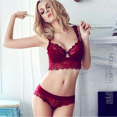 Newest Winter Wine Red Lace Bra Adjustment Ultra-thin Side Gathering Push  Up Women s Bra Briefs Set Sexy Lace Underwear bra 8ffc96027