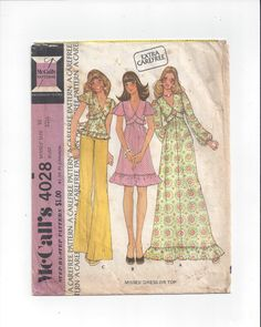 McCall's 4028 Pattern for Misses' Dress or Top, Size 10, From 1974, Maxi Dress, Extra Carefree, Vintage Pattern, Home Sewing Pattern by VictorianWardrobe on Etsy