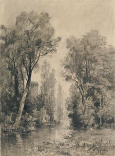 Castle Overlooking a River; Maxime Lalanne (French, 1827 - 1886); 1860s - 1870s; Vine charcoal, powdered charcoal, with stumping, lifting, and dry brush, fixed; 40 x 29.5 cm (15 3/4 x 11 5/8 in.); 99.GF.54; Gift of Richard A. Simms; J. Paul Getty Museum, Los Angeles, California