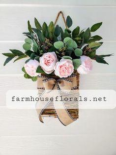 Beautiful Light Pink Peony / Eucalyptus Front Door Hanger Basket Front Door Planters, Fall Planters, Wreaths For Front Door, Door Wreaths, Succulents In Containers, Container Flowers, Container Plants, Pink Peonies, Peony