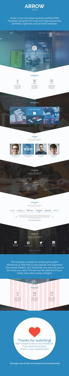Arrow | Free One Page Business Portfolio PSD Template on Behance