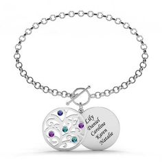 Check this out from jeulia! Jeulia Family Tree Engraved Bracelet with Birthstones Sterling Silver Gold And Silver Bracelets, Cheap Silver Rings, Silver Jewelry, Sterling Silver Name Necklace, Silver Earrings, Engraved Bracelet, Pearl Chain, Bracelet Sizes, Necklace Lengths