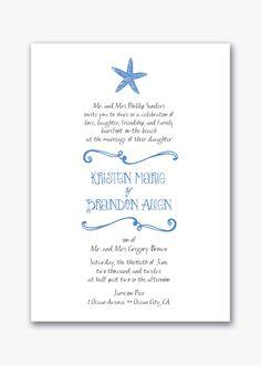 Starfish beach wedding invitation AND by viavaciousdesigns on Etsy