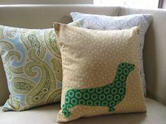 Dachshund Pillow Cover Golden Tan Wheat & Kelly Green
