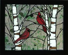 Gallery 1 - Panels - Ladybug Stained Glass-Cardinals