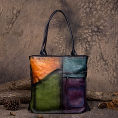 Handmade Vegetable Tanned Leather Tote Bag Shoulder Bag Shopper Bag in Colorful Grey DD103