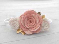 Vintage rosa fieltro blanco y oro y brillo por SnuggleBugsBowtique