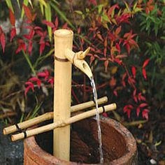 Turn any container into a water fountain with a bamboo water spout and pump fountain kit. Fountain will add a personal accent to your home or garden. Fountain kit has an easy setup and endless creative possibilities.