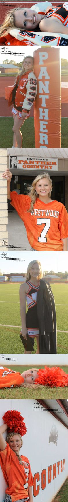 Girls cheerleading/football senior pictures. Abbie Coleman Photography