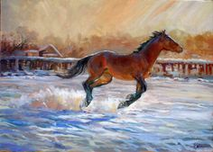 """""""Snow Serenade""""    Here's a horse that's feeling the joy and pleasure of being let out to run after a snowfall.  All four feet are lifted off the snow in that fleeting moment of the gallop.  This painting has a beautiful back light, glowing through the snow and on the horse.  Original oil, 30 x 40 inches."""