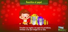 Navidad Verde: ¡Reutiliza el papel!  Envuelve tus regalos con papel de periódicos, revistas o los que tengas en tu casa. En lugar de moños puedes jugar con distintas texturas y cortes o incluso colocarles florecitas para derle un toque natural. ¡Puedes decorarlos a tu gusto!