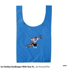 Ice Hockey Goalkeeper With Your Name Drawing Reusable Bag