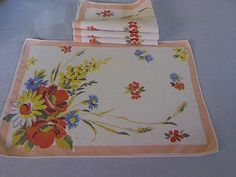 Vintage Linen Placemats and Matching Napkins Set of by fiordalis, $35.00