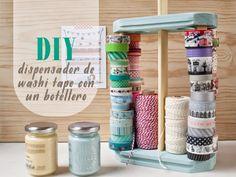 diy: dispensador de washi tape con un botellero