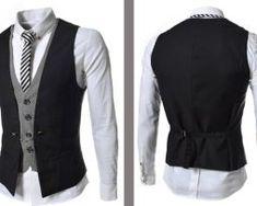 Luxusná dvojitá pánska vesta ku obleku v čiernej farbe Vest, Jackets, Dresses, Fashion, Down Jackets, Vestidos, Moda, Gowns, Fasion