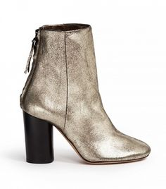 Isabel Marant Metallic Cracked Leather Ankle Boots