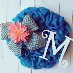 Hey, I found this really awesome Etsy listing at https://www.etsy.com/listing/185938270/teal-burlap-wreath-with-chevron-bow-pink