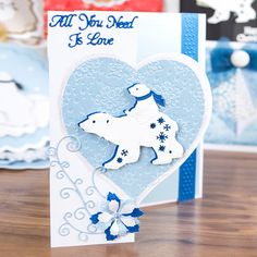 Tattered Lace Little Monsters Die - Polar Bear from Create and Craft USA Tattered Lace Cards, Create And Craft, Little Monsters, Christmas Cards, Crafty, Projects, Handmade, Collection, Craft Cards