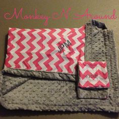 Pink chevron/grey Minky baby blanket with burp cloth