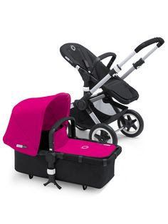 Bugaboo Buffalo black base pink canopy and apron (bassinet cover). <<<<< need this cover if we have a girl. So easy to change the canopy colors.
