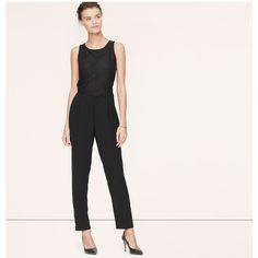 LOFT Tall Scallop Lace Jumpsuit (34 AUD) ❤ liked on Polyvore featuring jumpsuits, black, tall jumpsuits, sleeveless jumpsuit, white jump suit, white sleeveless jumpsuit and white jumpsuit