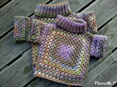 kids granny sweater --    I love this!  I just started crocheting again and found that I have forgotten a lot, but I could definitely do this one!!!  :O)