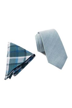 THE TIE BAR - Stubble Solid Green Tie & Plaid Pocket Square Set is now 31% off. Free Shipping on orders over $100.
