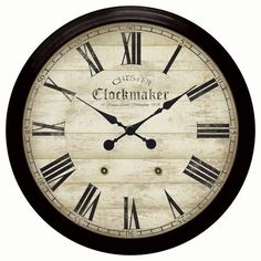 """Large Metal Chester Clockmaker Wall Clock (Black) (36""""h x 36""""w 3.75""""d)"""
