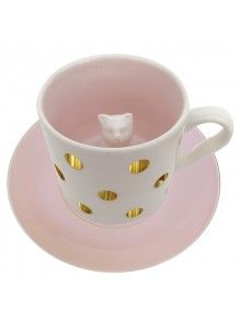 Disaster Designs Spotty Cat Mug: Elegant metallic gold polka dot adorned cup with a surprise cat inside. Made from porcelain and featuring a matching pink saucer with 'Tea o'clock' written in metallic gold. Tea Cup Saucer, Tea Cups, Teacup Cats, Disaster Designs, Color Glaze, Gold Polka Dots, Cat Mug, Cat Colors, Cat Gifts