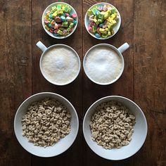 Friday: Lucky Charms and caffè latte. You didn't think I'd just put it in a bowl did you? #deconstructed #nouvellecuisine #handpicked #breakfast #symmetrybreakfast #friday #weekend #luckycharms @Elizabeth Mills #caffelatte #latte #cereal #fun #perfectionist #perfect