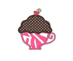 Teacup Cake Applique Machine Embroidery Design by SewChaCha, $3.00