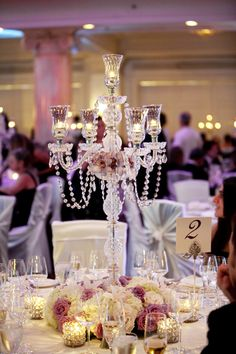 Stunning Candelabra Candlestick Crystal Candle Holder Wedding Centerpiece, Size-approx tall x wide when fully assembled Unique Centerpieces, Wedding Table Centerpieces, Flower Centerpieces, Centerpiece Ideas, Chandelier Centerpiece, Manzanita Centerpiece, Ceremony Decorations, Wedding Head Tables, Crystal Centerpieces