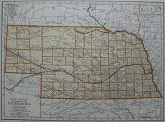 1938 Vintage NEBRASKA MAP of Nebraska 1930s by plaindealing