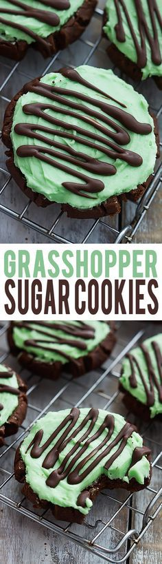 Grasshopper Sugar Cookies - moist chocolate sugar cookies with fluffy mint frosting, topped with Andes mint chocolate drizzle! | Creme de la Crumb