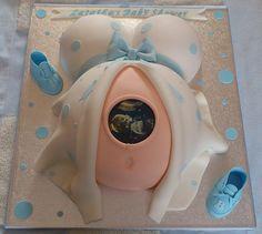 Baby Bump Shower Cake | Liz | Flickr Baby Shower Cakes Pictures, Baby Shower Cakes For Boys, Baby Shower Fun, Baby Shower Gender Reveal, Baby Shower Parties, Baby Shower Themes, Baby Boy Shower, Amazing Baby Shower Cakes, Baby Showers